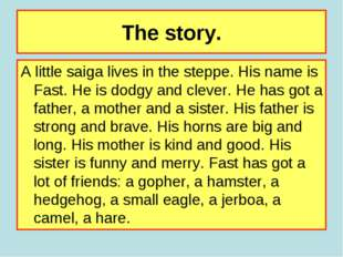 The story. A little saiga lives in the steppe. His name is Fast. He is dodgy
