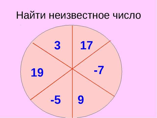 Найти неизвестное число 3 17 -7 9 19 ? -5