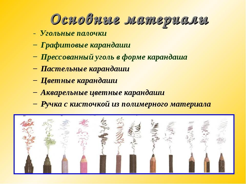 Основные материалы - Угольные палочки Графитовые карандаши Прессованный уголь...