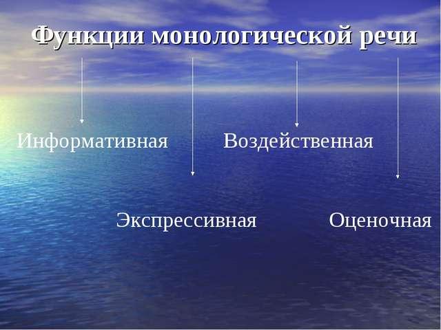 Функции монологической речи Информативная Воздейственная Экспрессивная Оценоч...