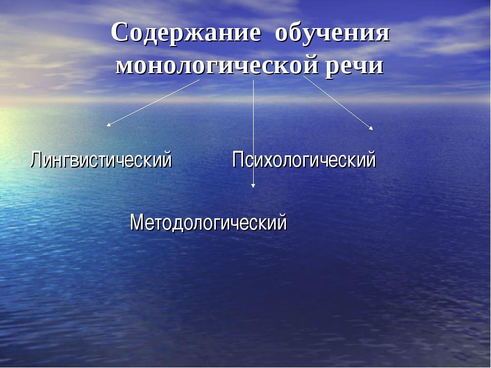 Содержание обучения монологической речи Лингвистический Психологический Метод...