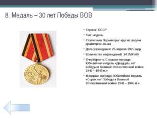20. Медаль – 65 лет Победы ВОВ Страна: Россия, Казахстан, Беларусь, Украина Т