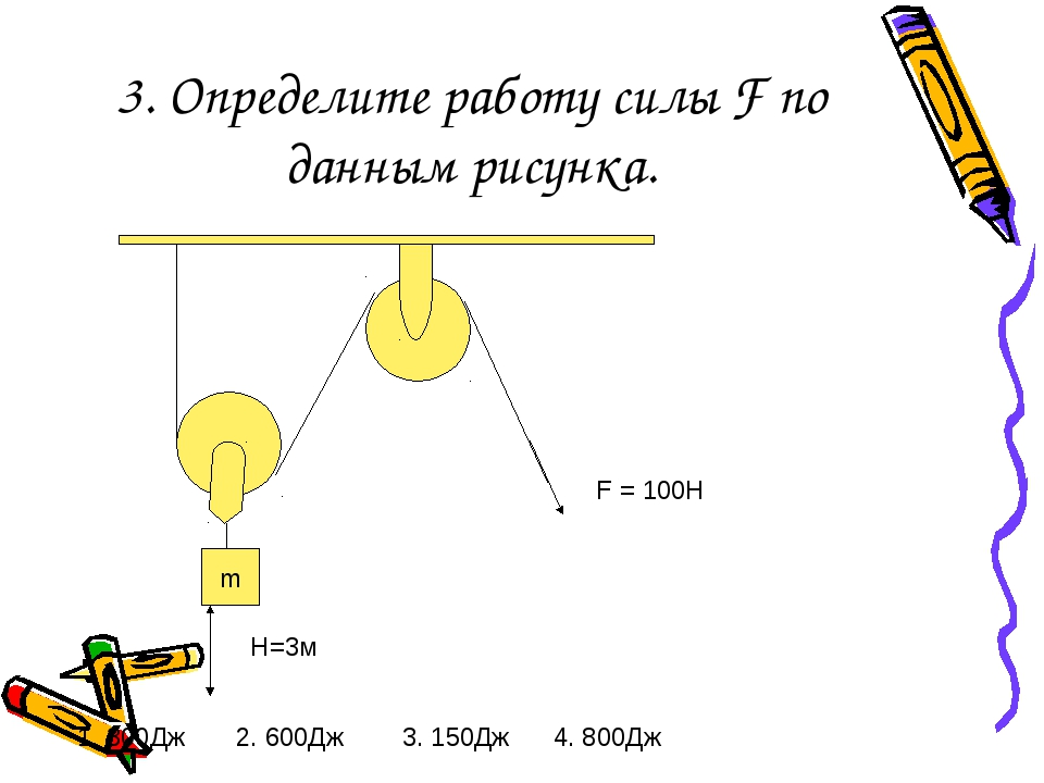 3. Определите работу силы F по данным рисунка. m F = 100Н H=3м 1. 300Дж 2. 60...