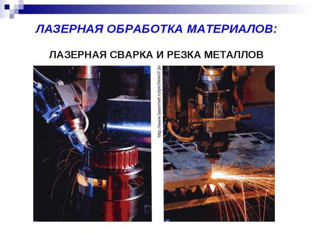 ЛАЗЕРНАЯ ОБРАБОТКА МАТЕРИАЛОВ: ЛАЗЕРНАЯ СВАРКА И РЕЗКА МЕТАЛЛОВ