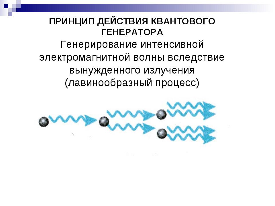 ПРИНЦИП ДЕЙСТВИЯ КВАНТОВОГО ГЕНЕРАТОРА Генерирование интенсивной электромагн...