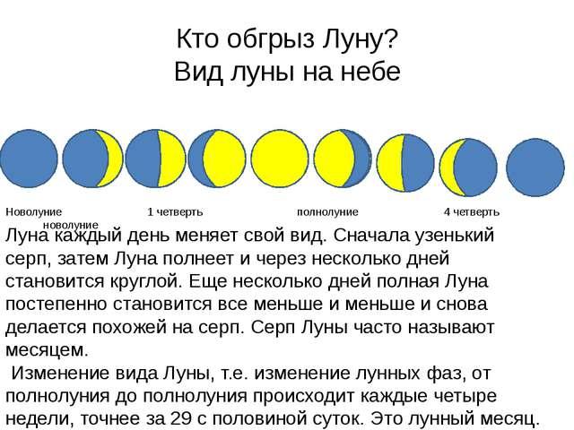 Кто обгрыз Луну? Вид луны на небе Луна каждый день меняет свой вид. Сначала у...