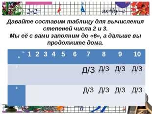 Давайте составим таблицу для вычисления степеней числа 2 и 3. Мы её с вами з