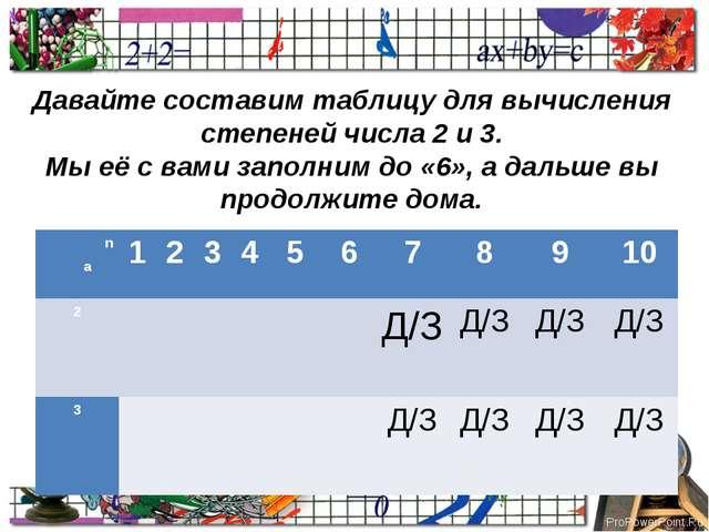 Давайте составим таблицу для вычисления степеней числа 2 и 3. Мы её с вами з...