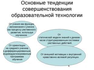 Основные тенденции совершенствования образовательной технологии От учения как