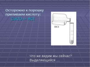 Осторожно к порошку приливаем кислоту: CaCO3 + HCl Что же видим мы сейчас? Вы