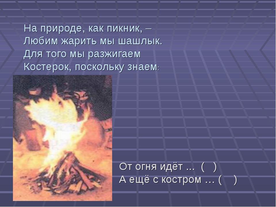 На природе, как пикник, – Любим жарить мы шашлык. Для того мы разжигаем Косте...