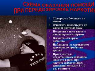 Повернуть больного на живот Очистить полость рта от слизи и рвотных масс Под