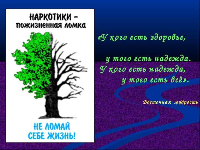 «У кого есть здоровье, у того есть надежда. У кого есть надежда, у того есть...