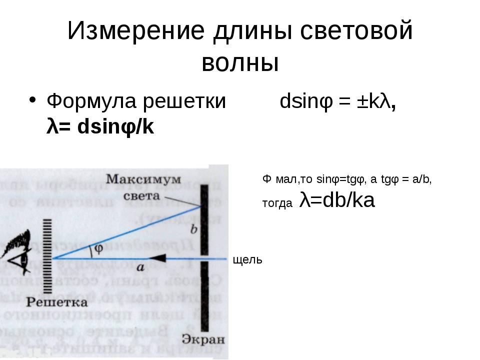 Измерение длины световой волны Формула решетки dsinφ = ±kλ, λ= dsinφ/k Φ мал,...