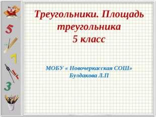 Треугольники. Площадь треугольника 5 класс МОБУ « Новочеркасская СОШ» Булдако