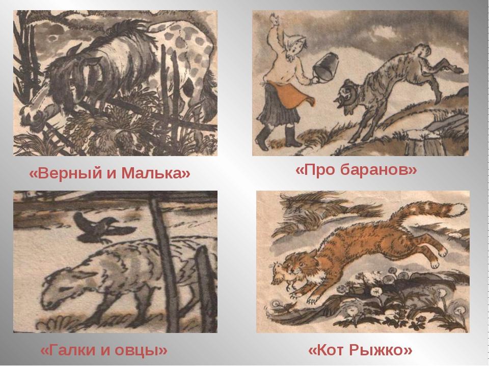 «Верный и Малька» «Про баранов» «Галки и овцы» «Кот Рыжко»