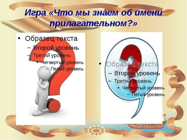 Игра «Что мы знаем об имени прилагательном?»