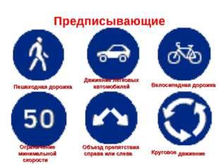 Предписывающие Пешеходная дорожка Движение легковых автомобилей Велосипедная
