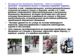 Безопасность дорожного движения – одна из основных проблем сохранения жизни и