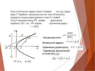Пусть на плоскости заданы точкаFи прямая , не проходящая черезF. Парабол
