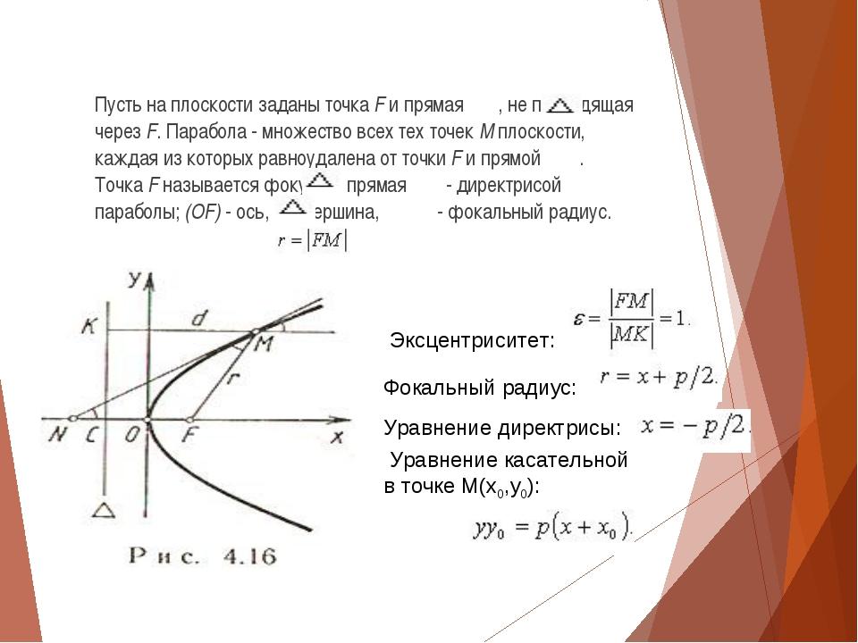 Пусть на плоскости заданы точкаFи прямая , не проходящая черезF. Парабол...