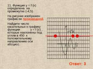 11. Функция y = f (x) определена на промежутке (-4;5). На рисунке изображен