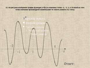 12. На рисунке изображен график функцииy=f(x)и отмечены точки−2,−1,1,4.