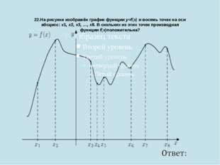 22.На рисунке изображён график функцииy=f(x)и восемь точек на оси абсцисс: