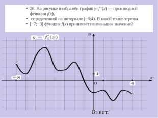 26. На рисунке изображён графикy=f ′(x)— производной функцииf(x), определе