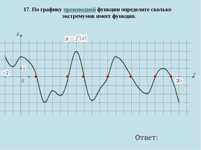 17. По графику производной функции определите сколько экстремумов имеет функ...