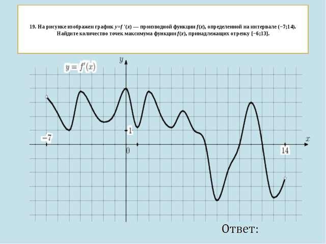 19. На рисунке изображен графикy=f ′(x)— производной функцииf(x), определ...