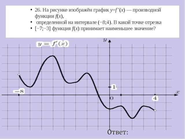 26. На рисунке изображён графикy=f ′(x)— производной функцииf(x), определе...