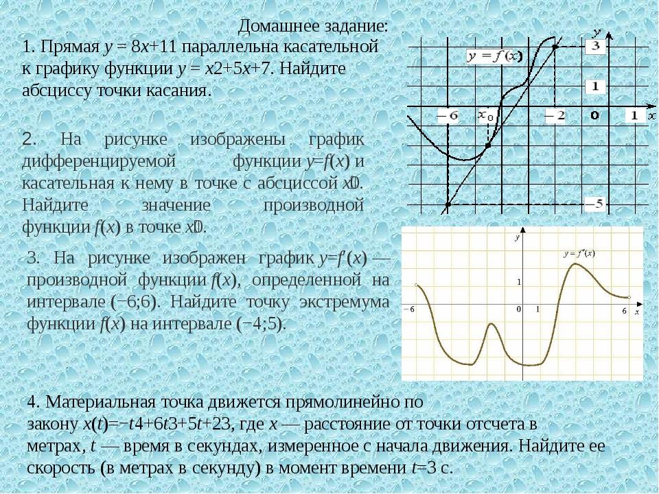 1. Прямаяy=8x+11параллельна касательной к графику функцииy=x2+5x+7. На...