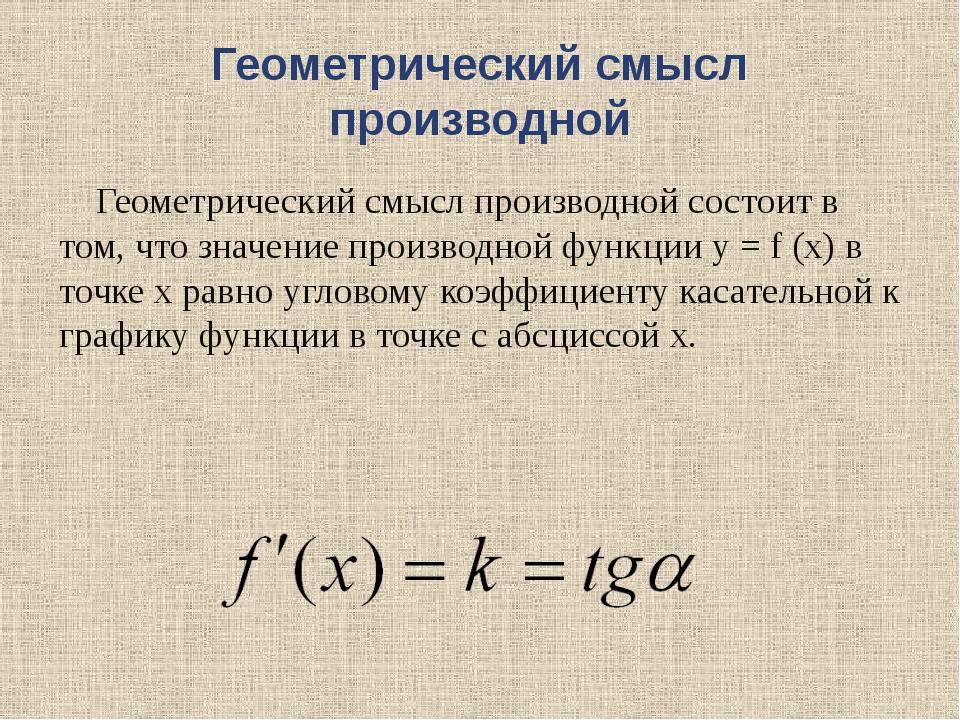 Геометрический смысл производной Геометрический смысл производной состоит в...