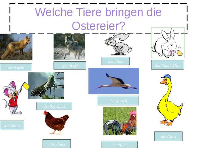 Welche Tiere bringen die Ostereier? das Huhn der Hahn der Fuchs der Wolf der...