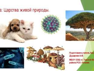 Тема: Царства живой природы. Подготовила учитель биологии - Дударова А.М. МБО