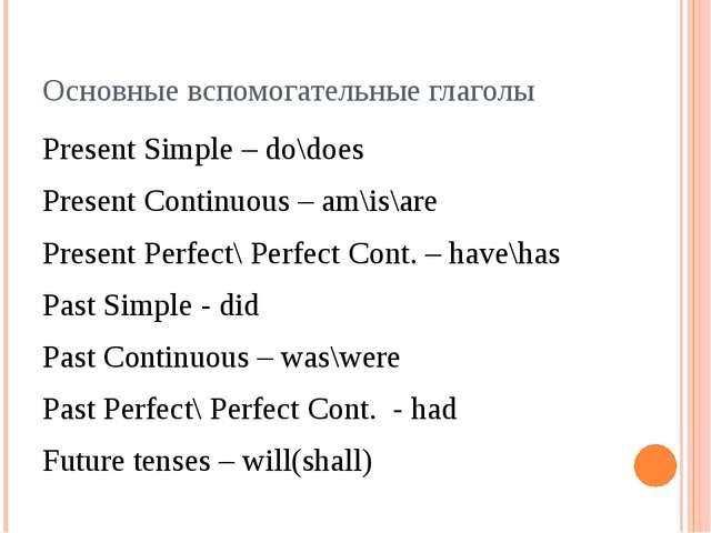 Основные вспомогательные глаголы Present Simple – do\does Present Continuous...