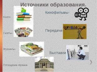 Источники образования. Книги- Газеты- Журналы- Посещение музеев- Кинофильмы-
