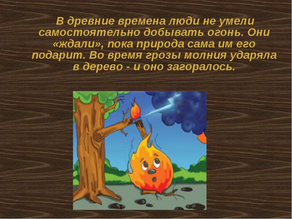 В древние времена люди не умели самостоятельно добывать огонь. Они «ждали»,...