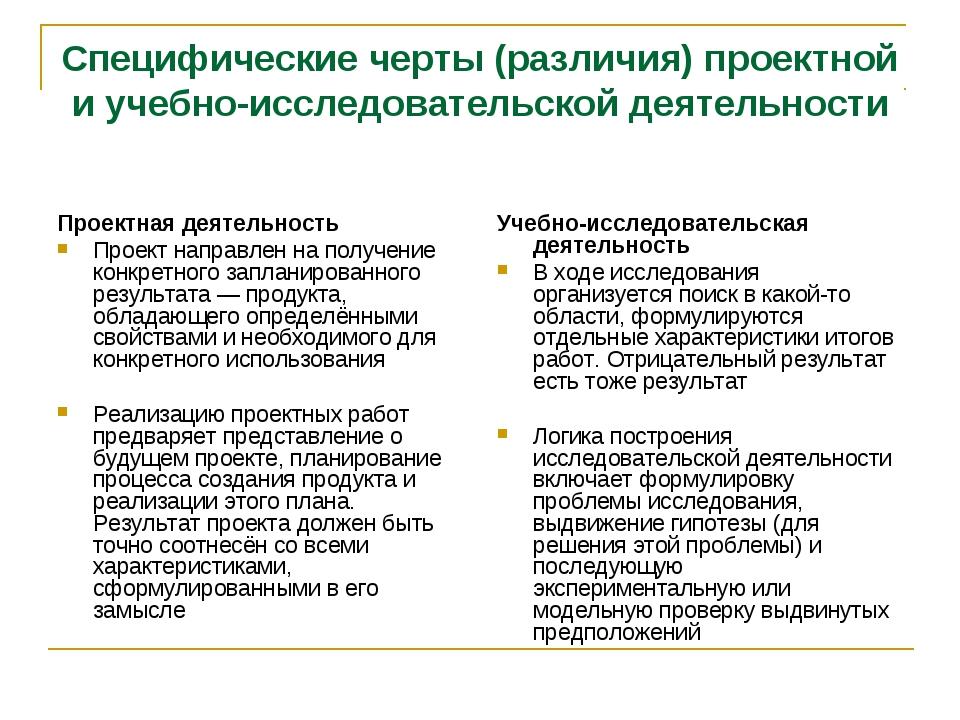 Специфические черты (различия) проектной и учебно-исследовательской деятельно...