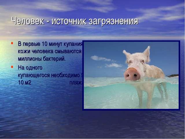 Человек - источник загрязнения В первые 10 минут купания с кожи человека смыв...
