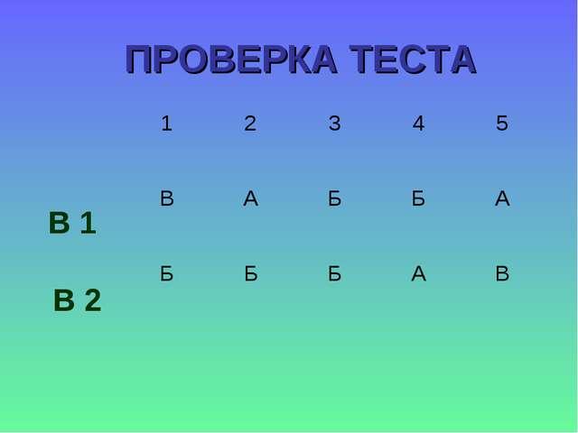 ПРОВЕРКА ТЕСТА В 1 В 2