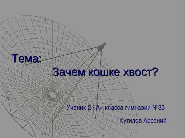 Тема: Зачем кошке хвост? Ученик 2 «А» класса гимназии №33 Кутилов Арсений
