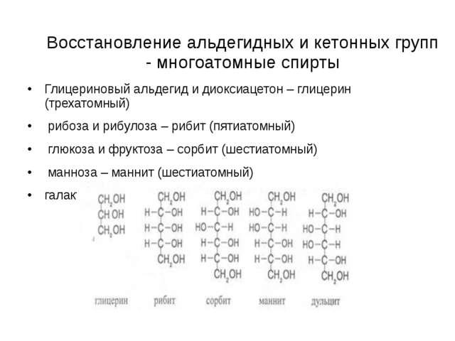 Восстановление альдегидных и кетонных групп - многoатомные спирты Глицериновы...