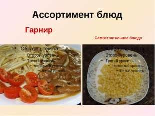 Ассортимент блюд Самостоятельное блюдо Гарнир