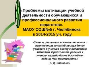 «Проблемы мотивации учебной деятельности обучающихся и профессионального разв