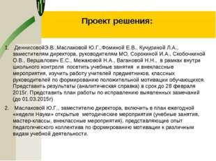 Проект решения: ДеннисовойЭ.В.,Маслаковой Ю.Г.,Фоминой Е.В., Кучуриной Л.А.,