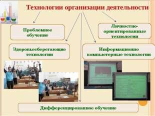 Технологии организации деятельности Проблемное обучение Личностно-ориентиров