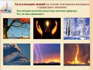 Актуализация знаний на основе повторения материала о природных явлениях Рассм