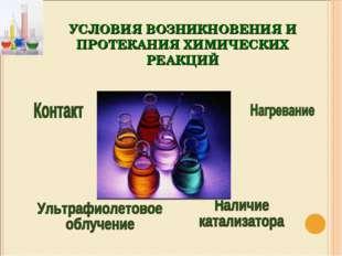 УСЛОВИЯ ВОЗНИКНОВЕНИЯ И ПРОТЕКАНИЯ ХИМИЧЕСКИХ РЕАКЦИЙ